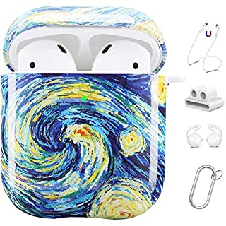 Maxjoy AirPods Case Cover, Cute AirPod Case Hard Protective Cover with Keychain/Strap/Earhooks/Watch Band Holder Compatible with Apple AirPods Charging Case 2&1 for Girls Women Men, Starry Night
