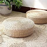 MAHAO Japanese Style Handcrafted Eco-friendly Padded Knitted Straw Flat Seat Cushion,Hand Woven Tatami Floor Cushion Corn Maize Husk (Dia40cm/15.8' x 10cm/4')