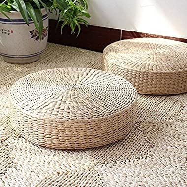 MAHAO Japanese Style Handcrafted Eco-Friendly Padded Knitted Straw Flat Seat Cushion,Hand Woven Tatami Floor Cushion Corn Maize Husk (Dia50cm/19.7  x 10cm/4 )