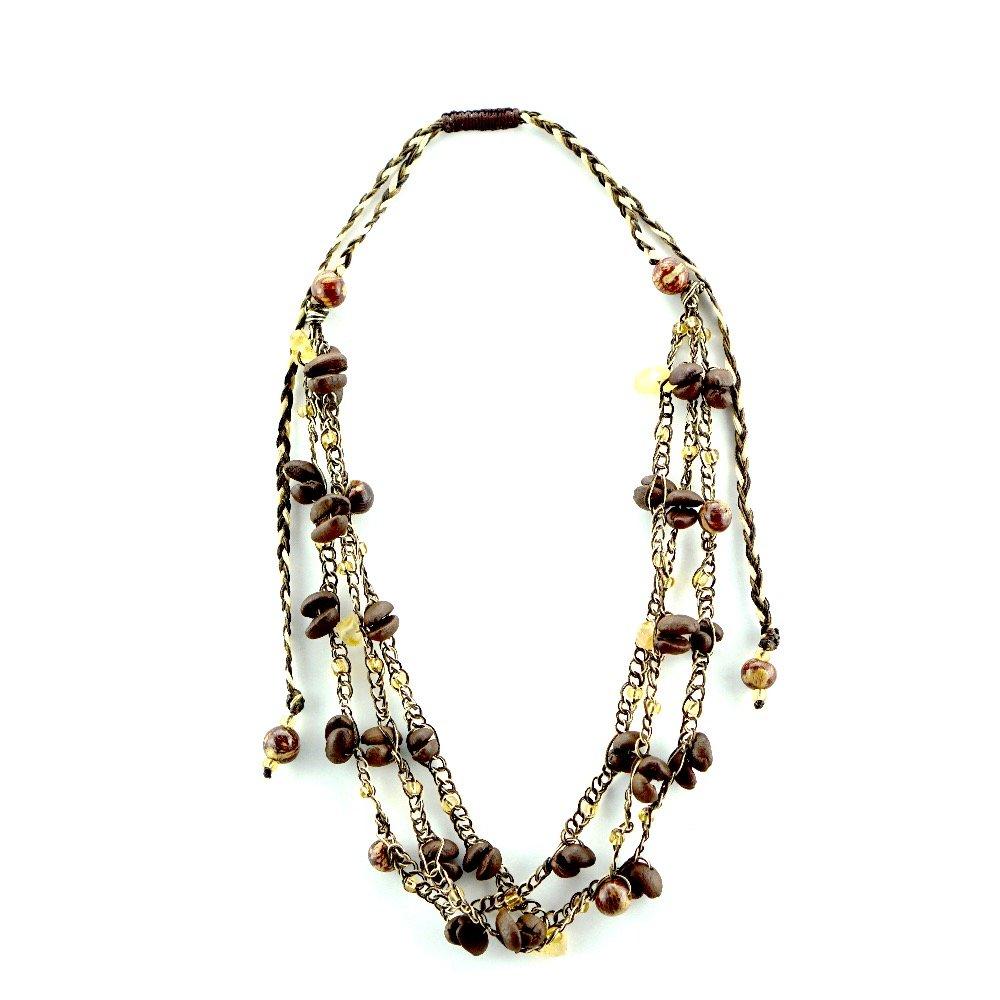 Coffee Bean Necklace, Bracelet & Earrings by Jortra Boutique