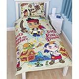 Disney Jake And The Neverland Pirates Childrens Treasure Single Duvet Cover Bedding Set (Twin) (Multicoloured)