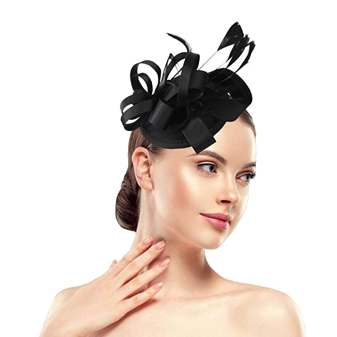 63040020 Acecharming Fascinators Hat Flower Sinamay Feather Headband Cocktail Tea  Party Headwear Kentucky Derby Hat Girls and Women