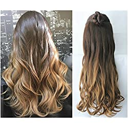 20 Inches 3/4 Full Head Clip in Hair Extensions Ombre One Piece 2 Tones Wavy Curly (dark brown to dark blonde)