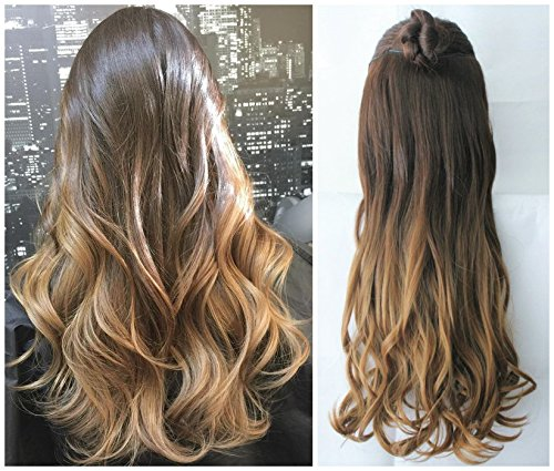 3/4 Full Head Clip in Hair Extensions Ombre One Piece 2 Tones Wavy Curly (dark brown to dark blonde)