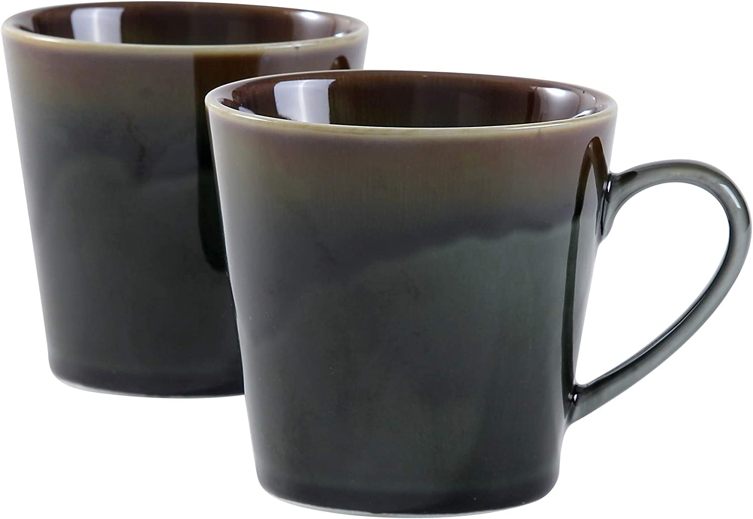 Uaral Ceramic Mugs Office and Home Porcelain Cups For Coffee Tea,Cappuccino,Cocoa 12oz, Set of 2,Forest Green