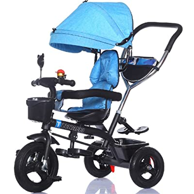 Multi-usage 4-en-1 Enfant Tricycle Version Sport Kid Trolley Poignée Poignée Stoller Vélo avec Auvent Anti-UV et Poignée Parent | pour 1-3-6 ans Garçon et Fille Bébé | Si&egrav