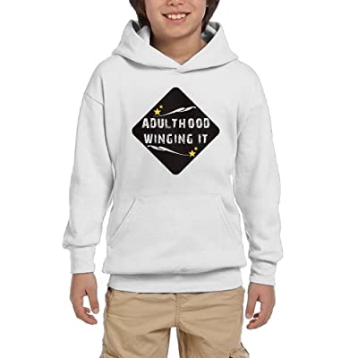 Adulthood Winging It Youth Pullover Hoodies Casual Pockets Sweaters