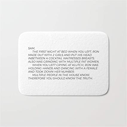 Huang Cong Jersey Shore Letter to Sammi Door Bath Mat 23.6