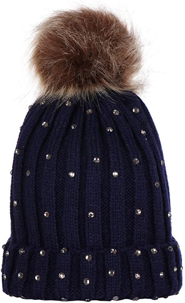 New Mom And Baby Knitting Wool Hemming Hat Keep Warm Winter Fur Ball Hat Cap
