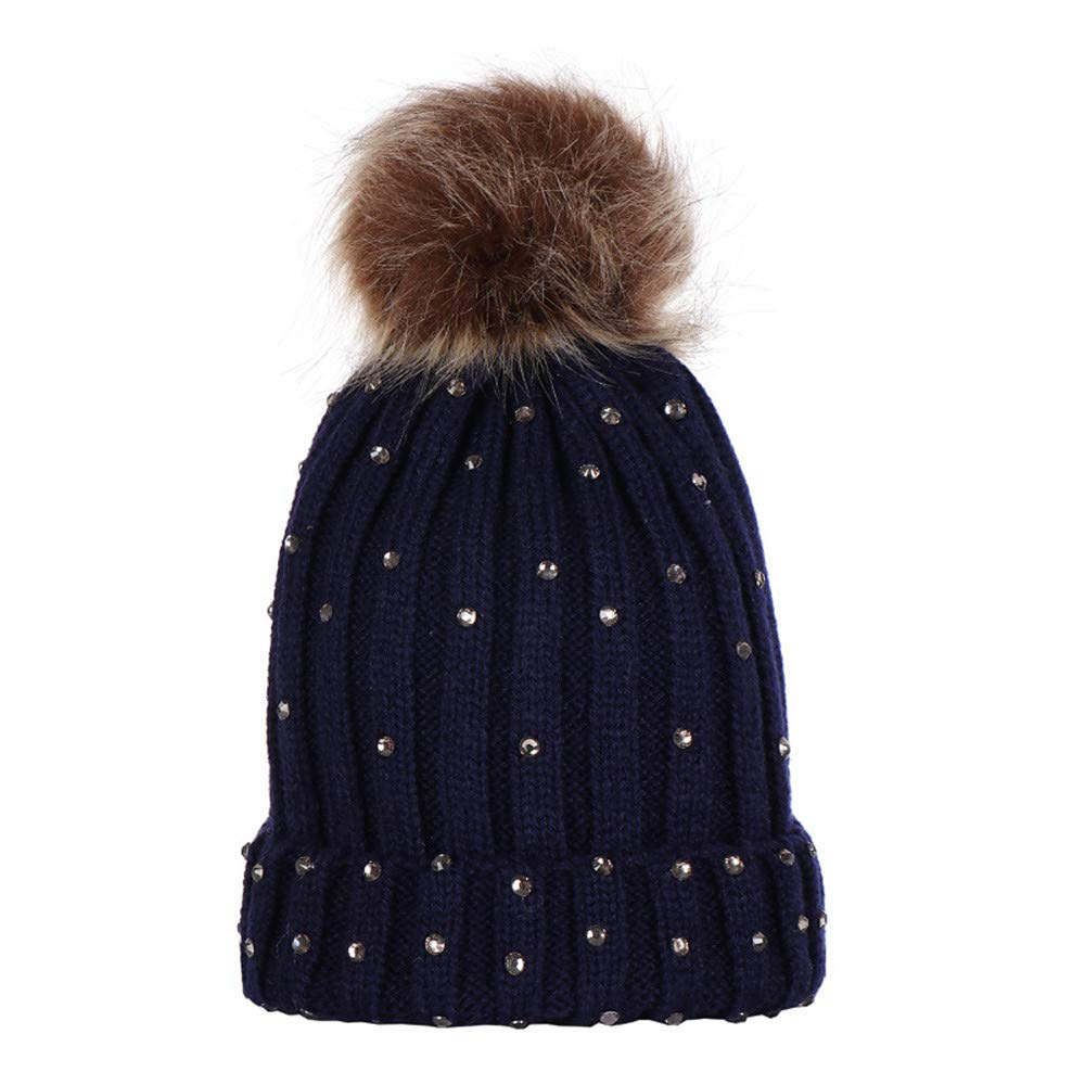 BHYDRY Children Baby Rhinestone Keep Warm Winter Fur Ball Knitted Wool Hemming Hat