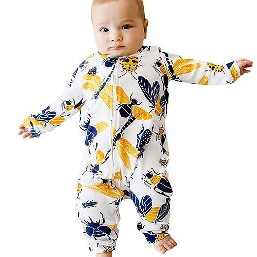 3673de30ff4 Sikye Newborn Baby Girl s Boy s Romper One-Piece Long Sleeve Insect Zipper  Jumpsuit Clothes Playwear