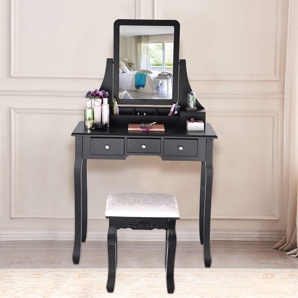 Sonmer Vanity Set with Mirror, Cushioned Stool, Storage Shelves, Drawers Dividers ,3 Style Optional, Shipped from US - Two Day Shipping (#1, Black) by Sonmer (Image #3)