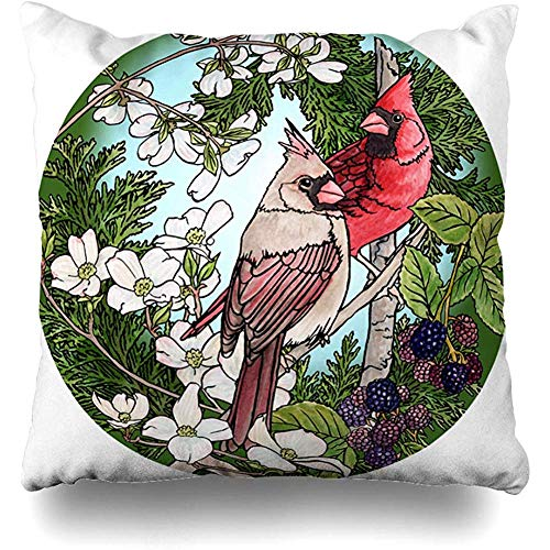 Decorative Throw Pillow Cover Cushion Case Flora Watercolor Flower Cardinals Berries Blossoms Clip Tree Nature Brown Bird Dogwood Watercolour Home Decor Pillowcase Square Size 18