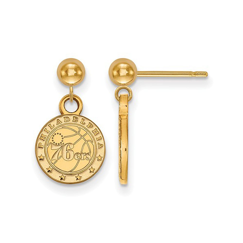 NBA Philadelphia 76ers Dangle Earrings in 14K Yellow Gold by LogoArt