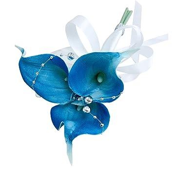 Real Touch Calla Lily varita/embrague bouquet-malibu brillante azul turquesa calla lily flor de perlas de plata decoraciones. Color puede ser personalizado: ...