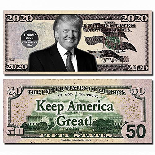 Trump Best Real Looking Play Money, Real Size & Color Double Sided 50 Bills of $50, That resembles 50 States 2 Packs 25 per pad
