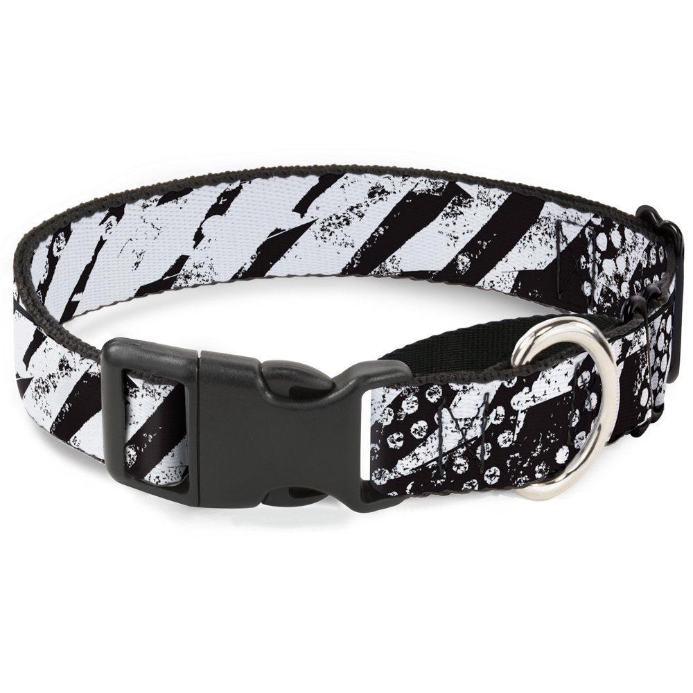Buckle-Down Grunge Tread Black White Martingale Dog Collar, 1  Wide-Fits 9-15  Neck-Small