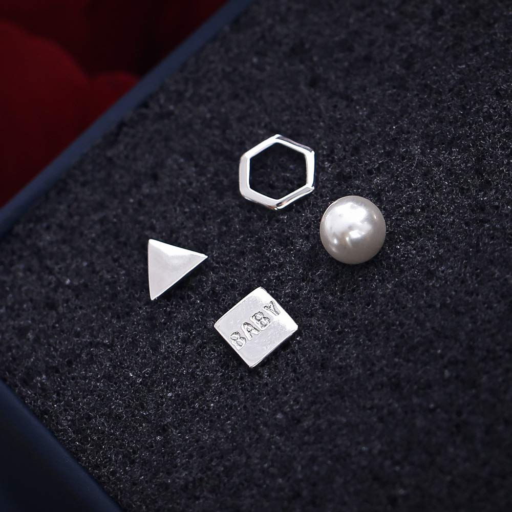 4 Pieces 925 Sterling Silver Hypoallergenic Cute Geometric Stud Earring Set For Baby Girls