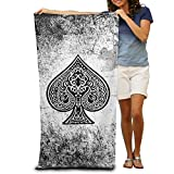 Yisliferunaz Poker Ace Of Spades Beach Towels Novelty 100% Polyester Pool Bath Sheets Large Towel For Beach Blanket Cover Tent Floor Yoga Mat 31.5'' X 51.2'',Natural Soft Quick Dry