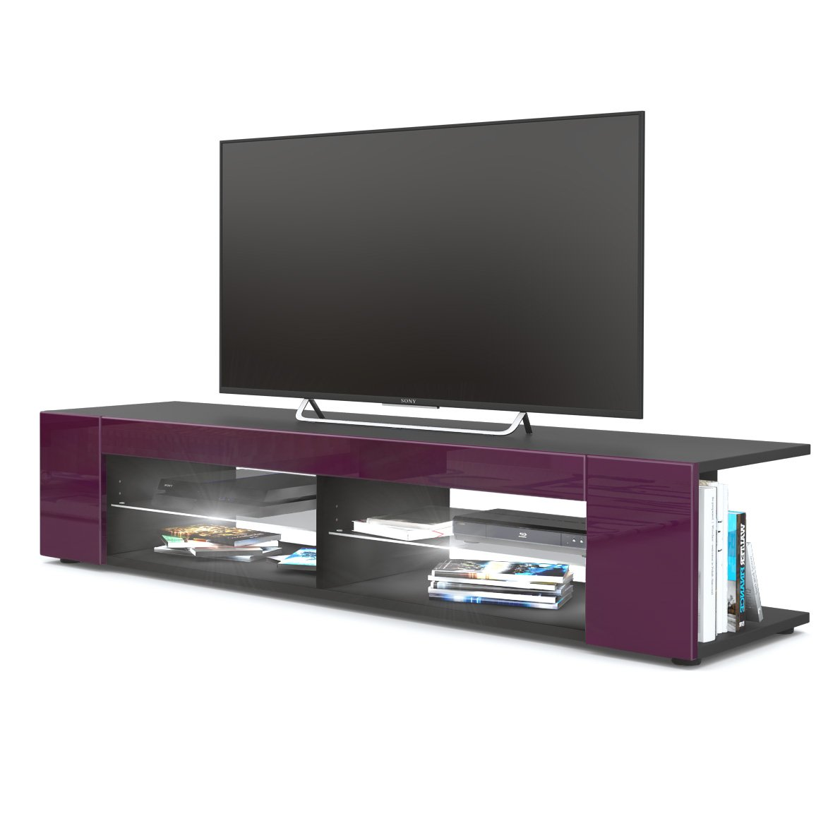 Front in Raspberry High Gloss with LED in White Vladon TV Unit Stand Movie, Carcass in Black matt Front in Grey High Gloss