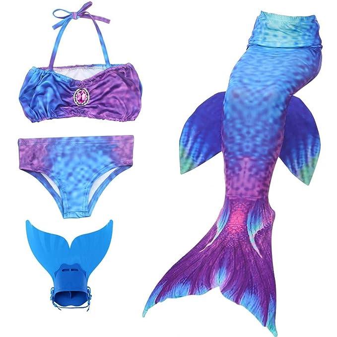 Amazon.com: Cola de sirena niña natación traje de baño Kid ...