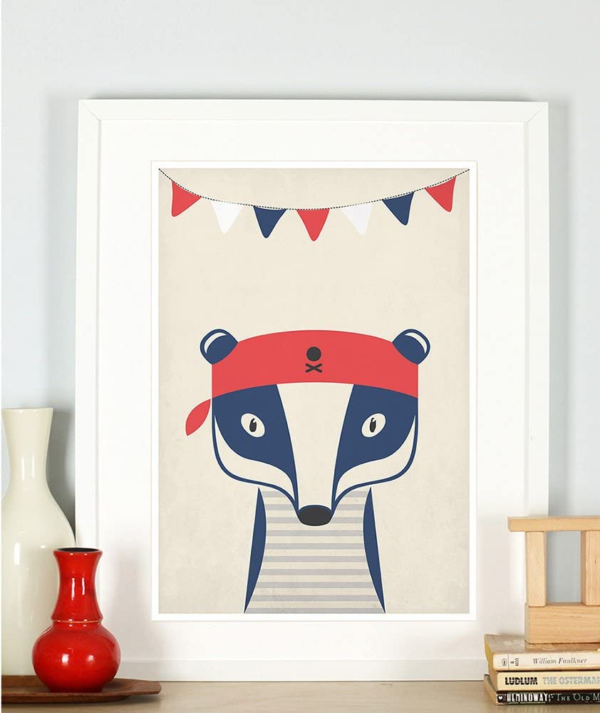 """Nursery decor, pirate, sailor badger, cute baby animals for kids, children's room picture, retro art print, vintage poster, A4 or 8x10"""""""