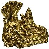 Aone India Lord Vishnu and Goddess Lakshmi Seated on Sheshnag - Brass Statue + Cash Envelope (Pack Of 10)