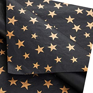 Tim&Lin 50 Sheets Black Tissue Paper Premium Wrapper Paper - 20 x 28 Inch - Gold Star Black Gift Wrapping Pack Paper Perfect for Wedding, Birthday, DIY Kits, Party Decor Supplies