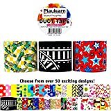 cool duct tape - Design Duct Tape 48mm x 16 Feet - Kids Fun Extra Strong Printed Arts & Crafts Multi Pack - by Playlearn (Track Fun)