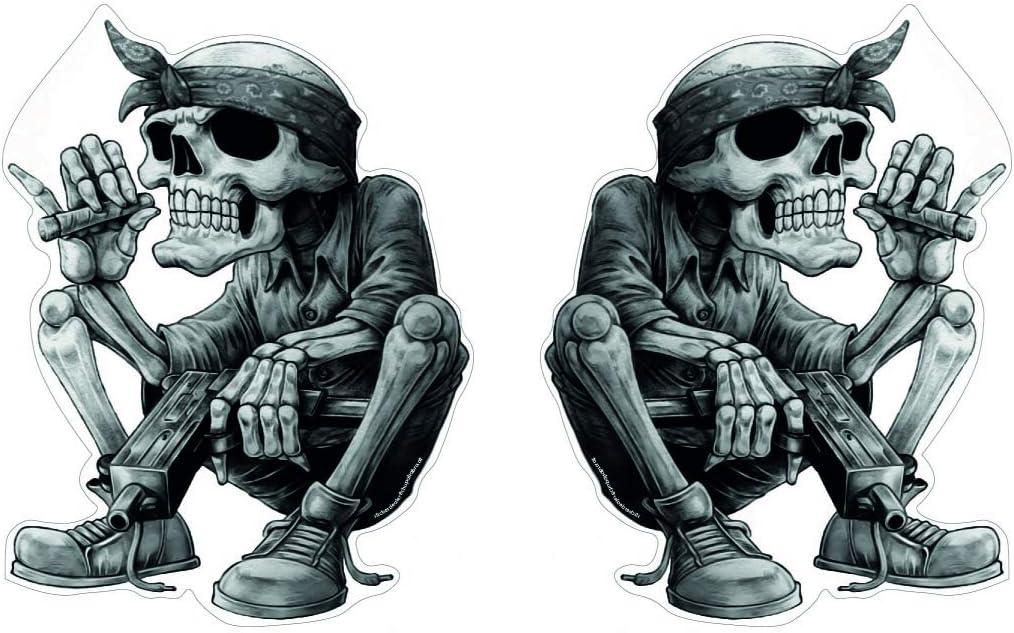 Skull Skelett Aufkleber Set 2 Stück Sticker Rap Musik Schädel Rapper Cool Bandana Zigarre Ca 13x10 Cm Auto