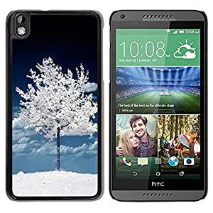FECELL CITY // Duro Aluminio Pegatina PC Caso decorativo Funda Carcasa de Protección para HTC DESIRE 816 // Dark White Winter Tree Nature Snow