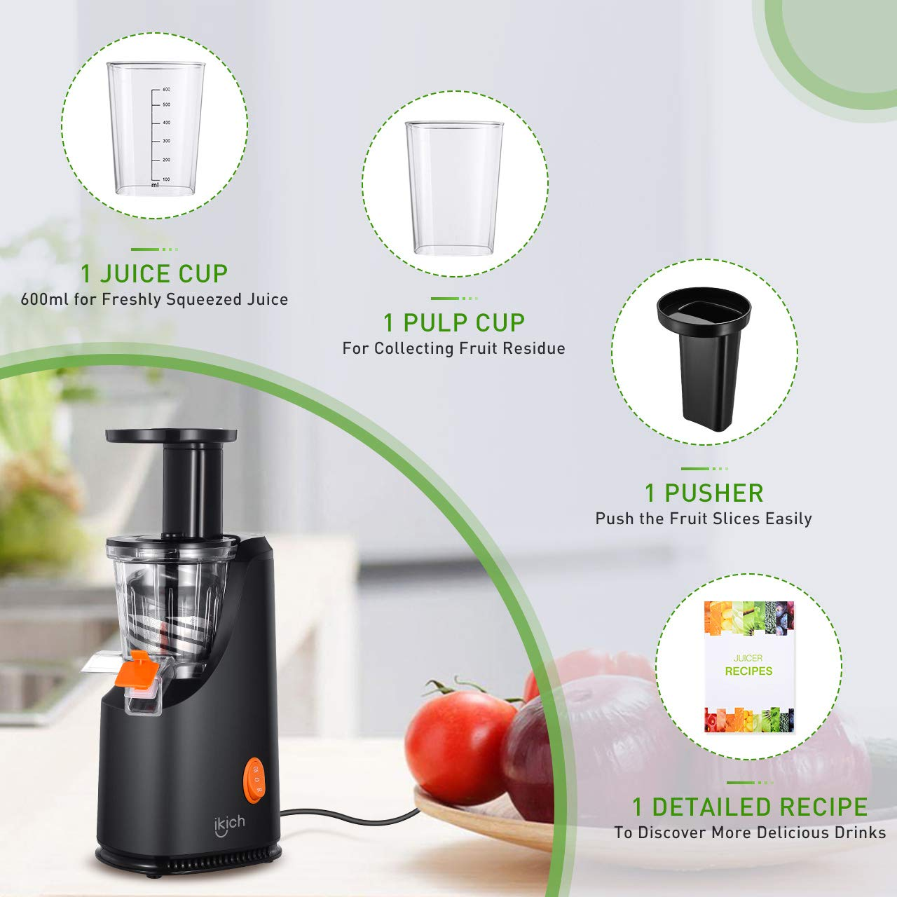 Masticating Juicer IKICH Slow Juicer with 200W Quiet Efficient Motor Compact Design Juicer Machines Easy to Clean with Juice Recipes , Brush , Cold Press Juicer with BPA-Free, FDA Approved by IKICH (Image #7)