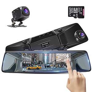 "Rear View Mirror Dash Cam Monitor, AKASO 7"" IPS Touch Screen 1080P HD Dual Dash Cameras,Front and Rear Night Vision Dash Camera,G-Sensor,Parking Monitor,Waterproof Backup Reversing Camera,32G Card"