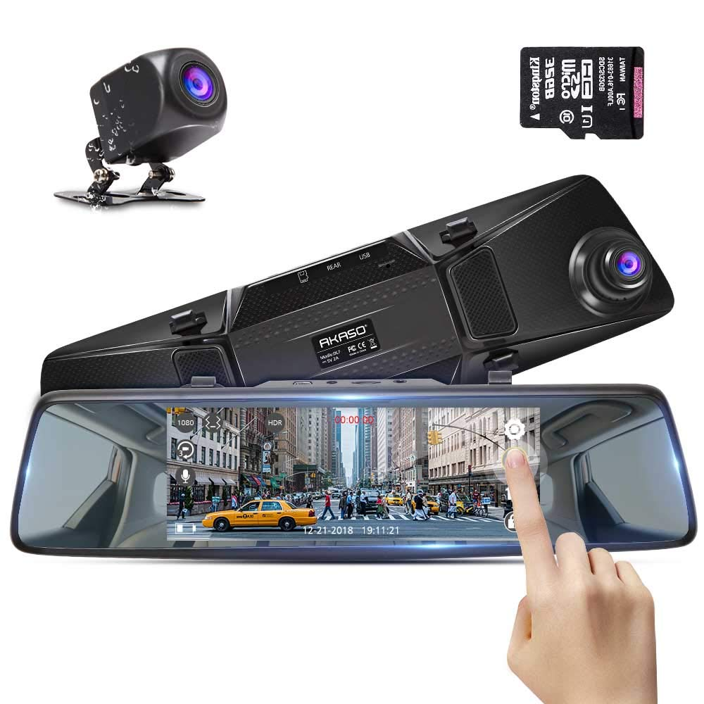 Mirror Dash Cam with Backup Camera - AKASO 1080P Dual Dash Camera for Cars Front and Rear 7'' Touch Screen with 32GB Card Reversing Image G-Sensor, Loop Record Park Monitor Waterproof Reversing Camera