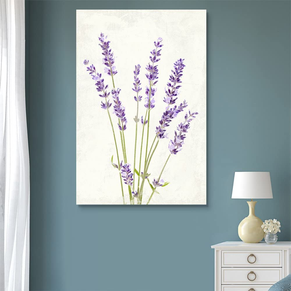 wall26 - Canvas Wall Art - Vintage Style Purple Lavender Flowers on Grunge Background - Giclee Print Gallery Wrap Modern Home Art Ready to Hang - 12x18 inches