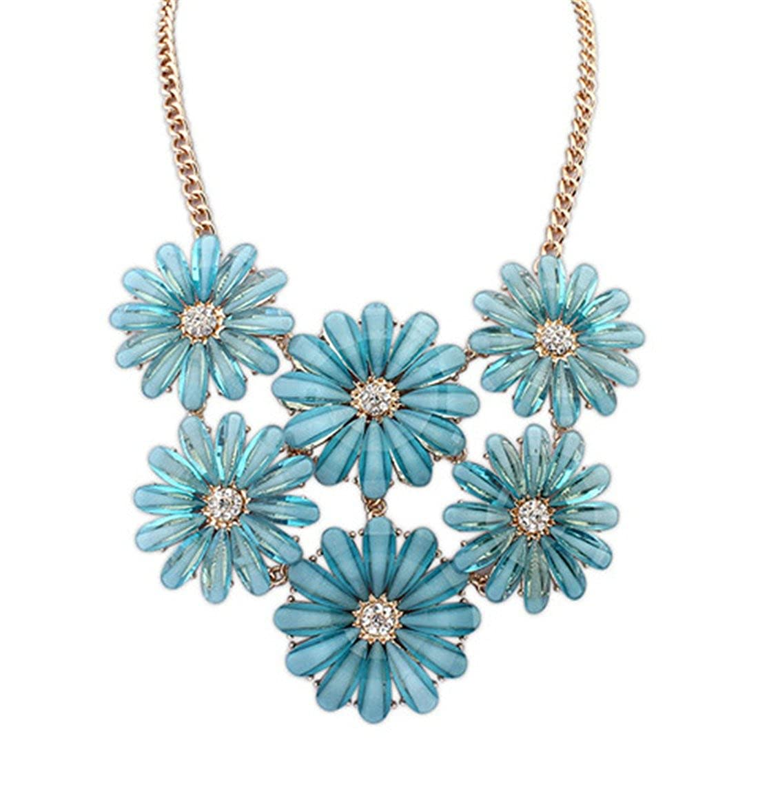 Qiyun Flower Daisy Multiple Layers Resin Beaded Choker Collar Bib Statement Necklace Fleur Marguerite Re sine De Multiples Couches Collier W005N1322
