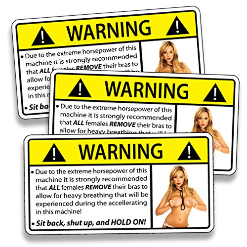 , Skins & Stickers Sexy HOT Girl Warning Sticker Attention Remove Bra Female Funny Caution Decal ()