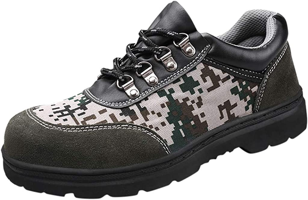 Zapatos de Seguridad Camuflaje Militar Hombre Zapatillas Personalidad Comodos Calzado de Trabajo y Deportiva con Puntera de Acero Prevención de Pinchazos Yvelands