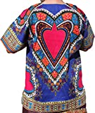 RaanPahMuang Brand Unisex Bright Heart Cotton Africa Dashiki Shirt Plain Front, Medium, Medium blue