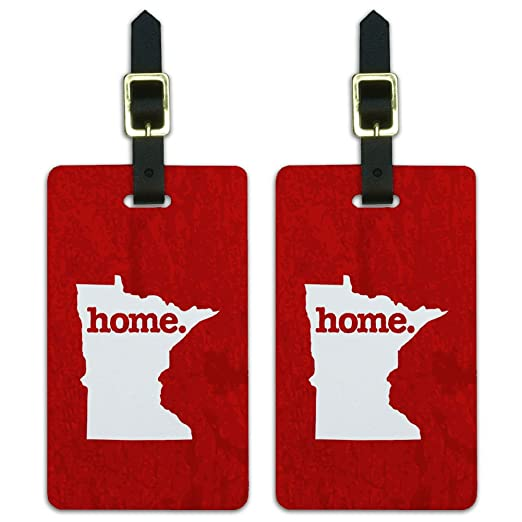 Minnesota MN Home State Luggage Suitcase ID Tags Set of 2 - Textured Red