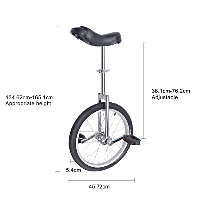 """16/"""" Adjustable Height Unicycle Wheel Tire Cycling Leakproof Mountain"""