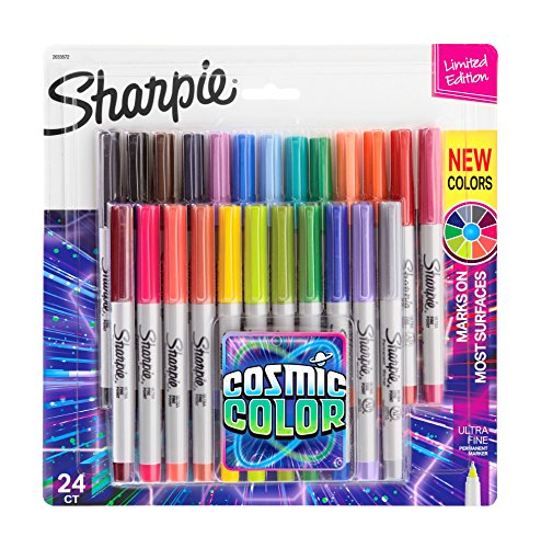 Sharpie Permanent Markers, Ultra Fine Point, Cosmic Color, Limited Edition, 24 Count by Sharpie