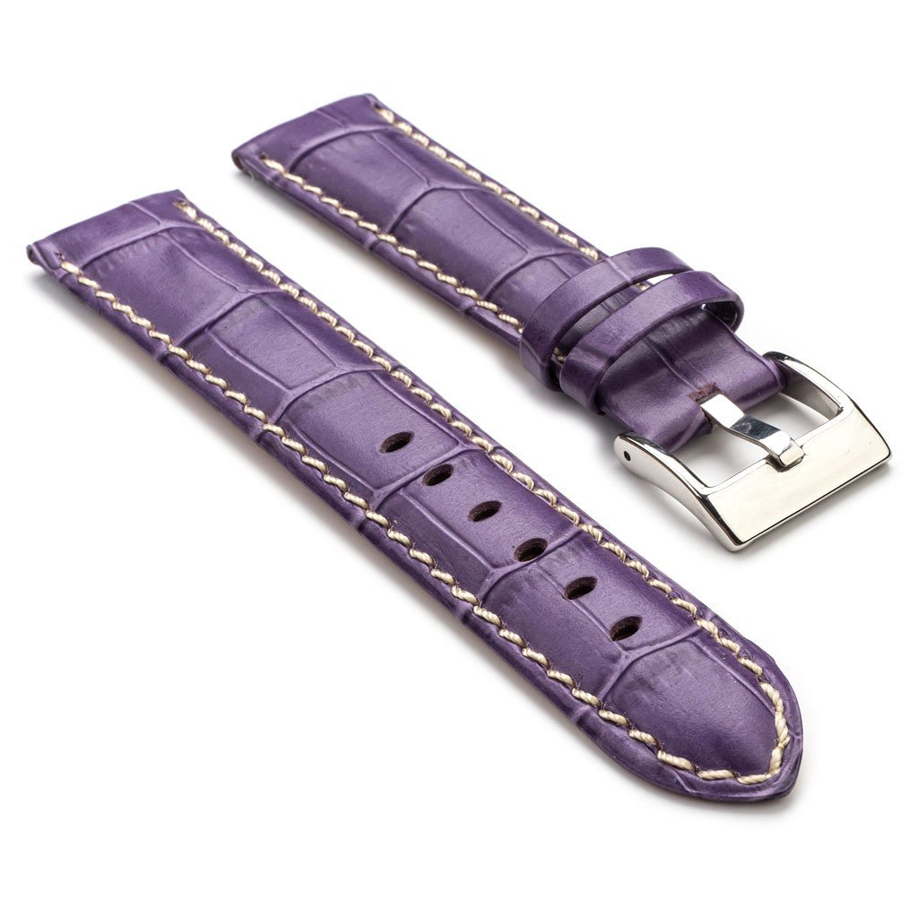 StrapsCo 最高級 紫 ワニ(クロコダイル)の型押し革 レザー 時計ストラップ 20mm B00MRDA4HW 20mm|パープル パープル 20mm