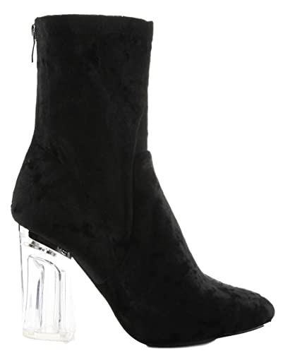 Amazon.com | Cape Robbin Fay-11 Closed Toe Crushed Velvet Block Clear  Perspex Heel Ankle Boot Bootie Black 9 | Shoes