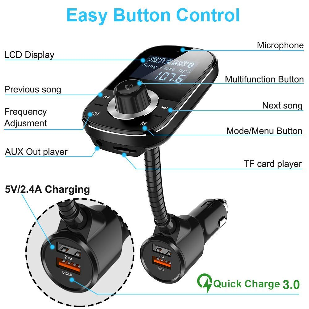 Pantalla LCD de 1.44 Negro Transmisor FM Bluetooth Coche QC3.0 FM Transmisor Bluetooth Manos Libres Radio MP3 Bluetooth Coche con 2 Puertos USB 5V//2.4A Soporte de Tarjeta TF y 3.5mm AUX