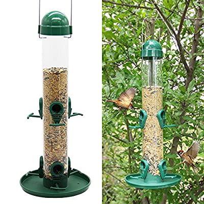 Twinkle Star Classic Wild Bird Feeder Tube Feeder with 6 Feeding Ports, Green
