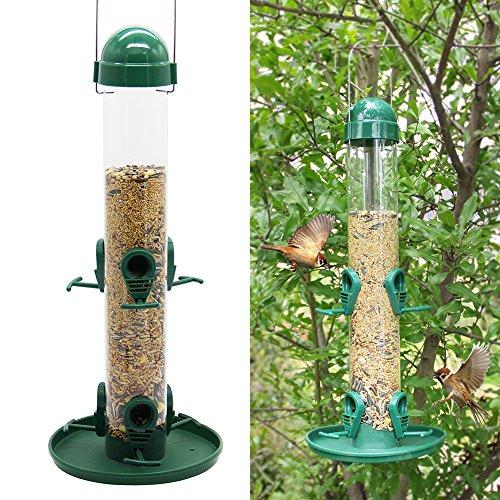 Twinkle Star Classic Wild Bird Feeder Tube Feeder with 6 Feeding Ports, Green
