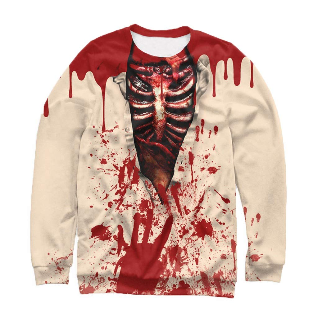 FIN86 Mens Casual Scary Halloween 3D Printed Long Sleeve Shirt Round Neck Blouse Top by FIN86