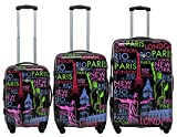 Rivolite Hardside PC Printed 3 Piece Expandable Spinner Luggage Set: 20'' 24'' 28'' (Words)