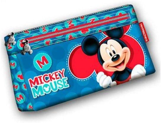 Mickey Mouse Estuche portatodo Plano Doble, Color Azul, 22 cm (Karactermanía 51302): Amazon.es: Juguetes y juegos
